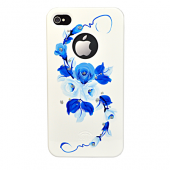 Накладка iCover Hand Printing для iPhone 4/4s - Vintage Rose\Blue
