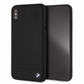 Накладка BMW Signature Perforated Leather Hard для iPhone XS Max - Black