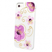 Накладка iCover Cherry Blossoms для iPhone 5 / 5s / SE - White/Purple