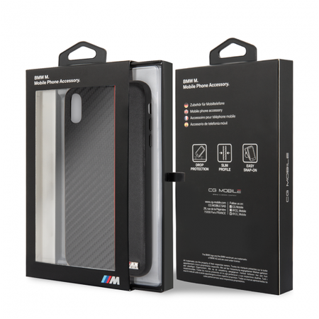 Накладка BMW M-Collection Carbon inspiration для iPhone XS Max - Black/Red