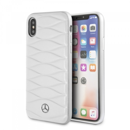 Накладка Mercedes Pattern III Hard Leather для iPhone X / XS - White