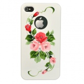 Накладка iCover Hand Printing для iPhone 4/4s - White/Pink