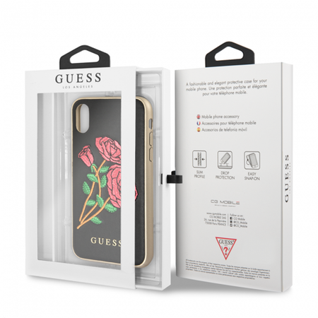 Накладка Guess Flower Desire Hard PU для iPhone X / XS - Embroidered Roses Black