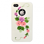 Накладка iCover Hand Printing для iPhone 4/4s - Vintage Rose\Purple