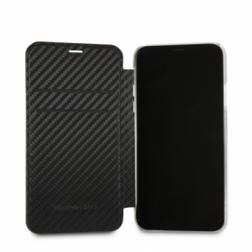 Чехол Mercedes Dynamic Booktype PU Carbon для iPhone X / XS - Black