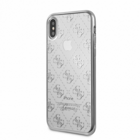 Накладка Guess 4G Transparent Hard TPU для iPhone X / XS - Silver